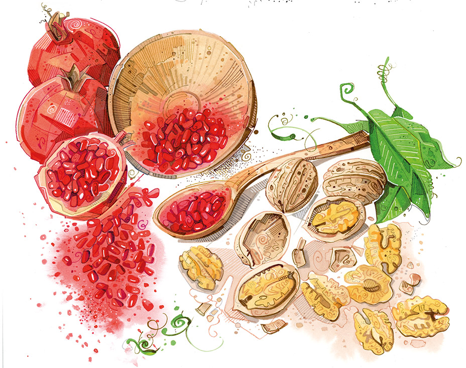 Affinity No3 - walnts and pomegranates.